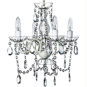 """4 Light Crystal White Hardwire Flush Mount Chandelier H17.5""""xW15"""", White Metal Frame with Clear Glass Stem and Clear…"""