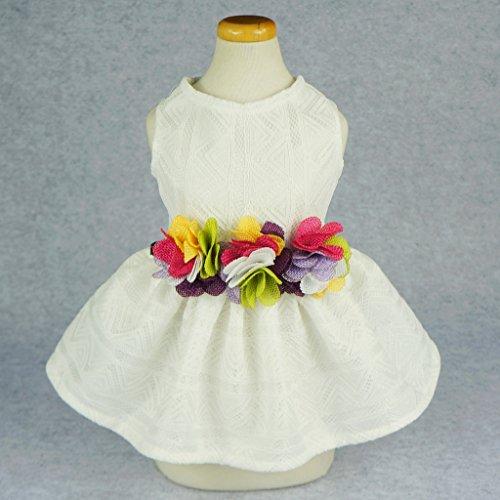 Fitwarm Elegant Floral Dog Sundress Pet Wedding Dress Vest Shirts Cat Clothes, White, XS by Fitwarm (Image #1)