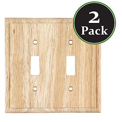 New 2 Pack Decorator Wood Wooden Double Switch Unfinished Standard Size Devices Timer Sensor Oak Finish Light WallPlate Outlet Cover Wall Plate for Dimmer,Light Switch Ready for Paint or ()