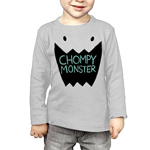 ZheuO Boys & Girls Toddler Chompy Monster Cozy 100% Cotton T-Shirts Unisex Gray 4 (Chompy Romper Ball)