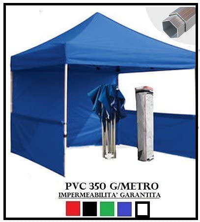 Carpa plegable azul aluminio hexagonal 40 mm 3 x 3 + 4 toallas laterales PVC 350 g Metro: Amazon.es: Jardín