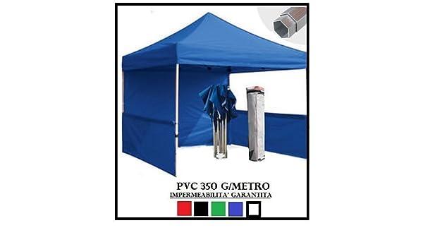 Carpa plegable azul aluminio hexagonal 40 mm 3 x 3 + 4 toallas laterales PVC 350 g Metro: Amazon.es: Jardín