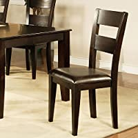 Side Chairs for Dining Room 2-Pack of Weston Collection with Durable Chocolate Vinyl Seat in Espresso Finish