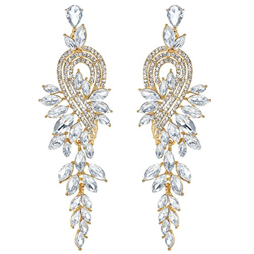 mecresh Bridal Wedding Earrings Leaf Crystal Dangle Drop Earrings for Women Gift in Gold Tone