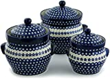 Polish Pottery Set of 3 Jars 10-inch Flowering Peacock