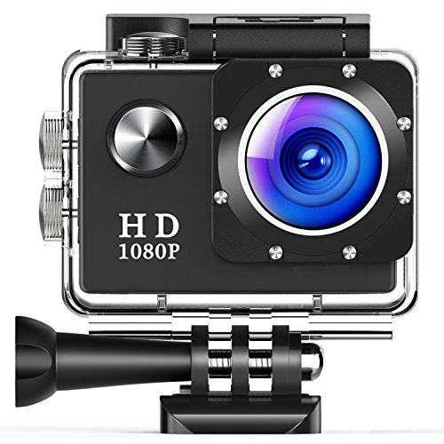 TUSAZU Action Camera , 12 million pixels 1080P HD Waterproof Sports Cam 1.5 Inch LCD Screen , 140 Degree Wide Angle Lens , 30m Underwater DV Camcorder With 10 Accessories Kits (Hd Camcorder Waterproof)
