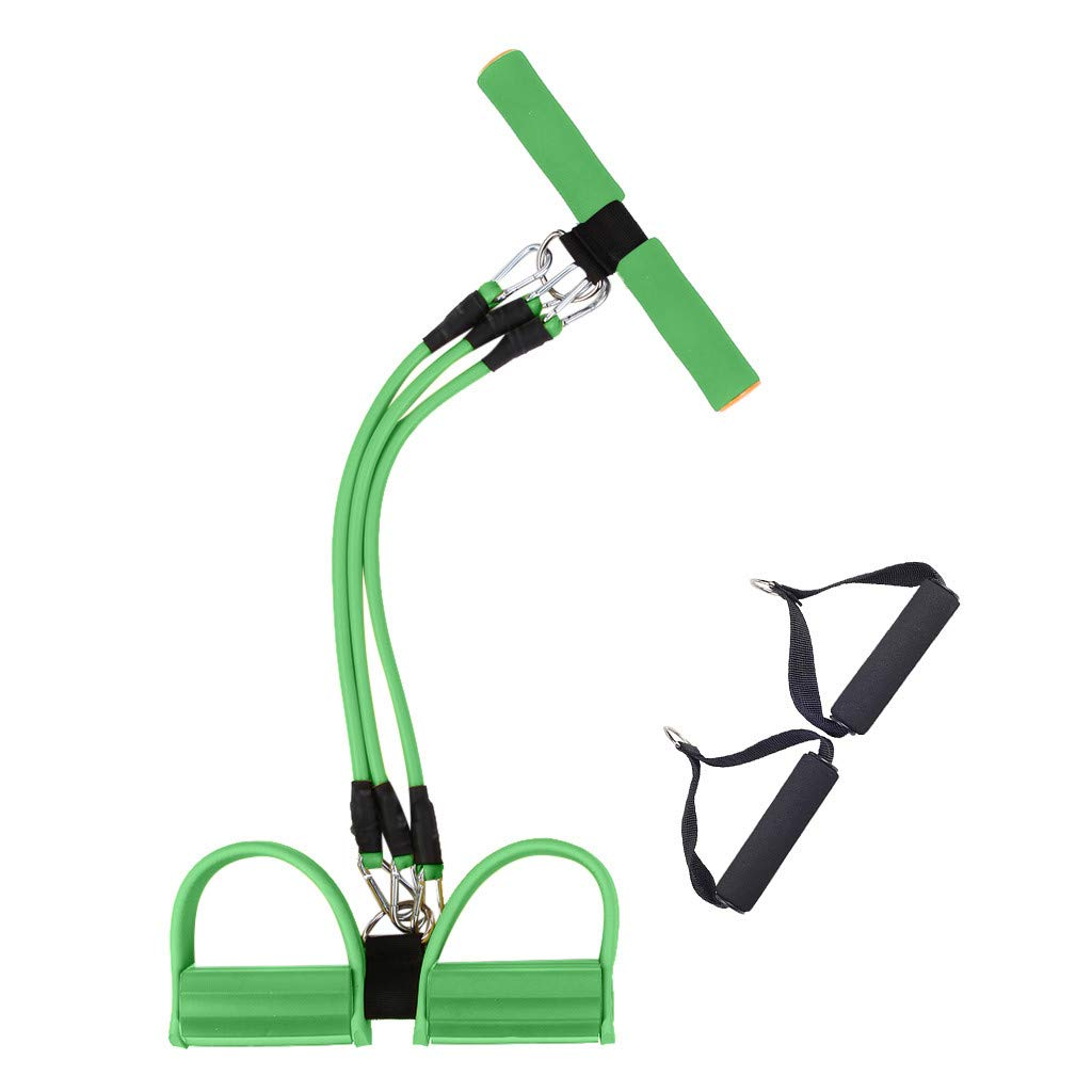 Nesee Elastic Sit Up Pull Rope Tension Foot Leg Pedal Training Exerciser, Arm Fitness Slimming Equipment for Workout, Home,Gym (Green)