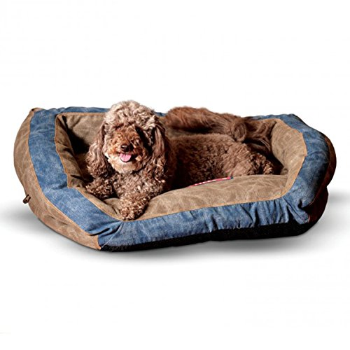 K&H Pet Products Vintage Bolster Pet Bed Premium Logo Large Brown/Blue 28