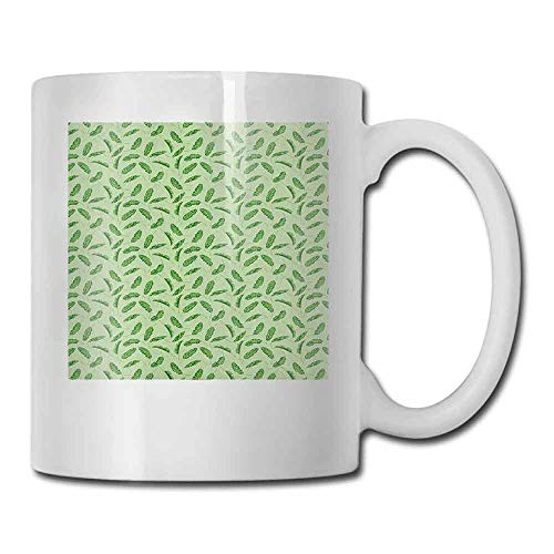 Banana Leaf Porcelain - Banana Leaf Porcelain Mugs for Coffee Vivid Green Tropical Leaves Botany Ecology and Paradise Nature Theme For Family and Friend Green Pistachio Green 11oz