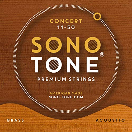 - SonoTone Concert, 11-50, Extra-Light, Acoustic Guitar Strings, Custom Brass Alloy Wrap, Hand-Wound, Hex Core, Bright, Balanced, Sustain, Vintage and Traditional Sound, American Made