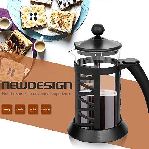 Rapesee 1000ml French Press Coffee Espresso Maker Heat Resistant Glass Carafe kettle with Stainless Steel Plunger Lid, Black Review