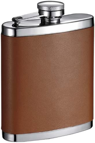 VisolHunter Leather Stainless Steel Hip Flask Dark Brown 6-Ounce