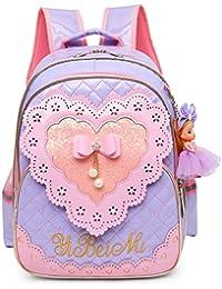 e69906d2f007 Waterproof PU Leather Kids Princess Backpack Cute School Bookbag for Girls  (Large