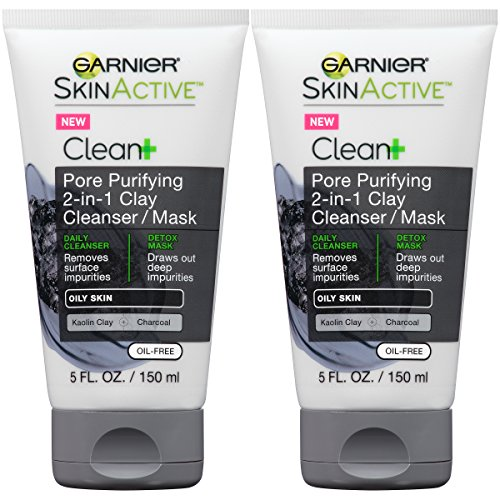 Garnier Skin Skinactive Men's Pore Purifying Charcoal Face Wash & Mask, 2 Count