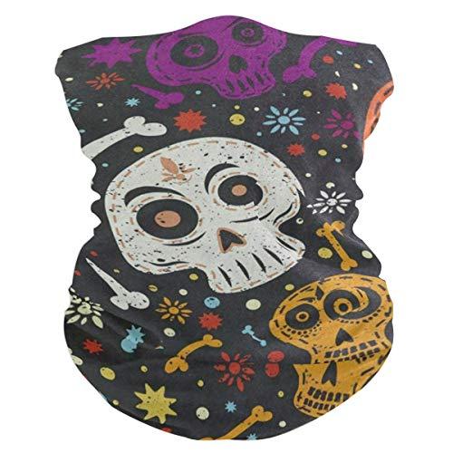 Day Of The Dead Colorful Mexican Skull Balaclava Womens Headband Scarf Mens Bandana,Muffler,Neck Gaiter,Magic,Wristband Sweatband