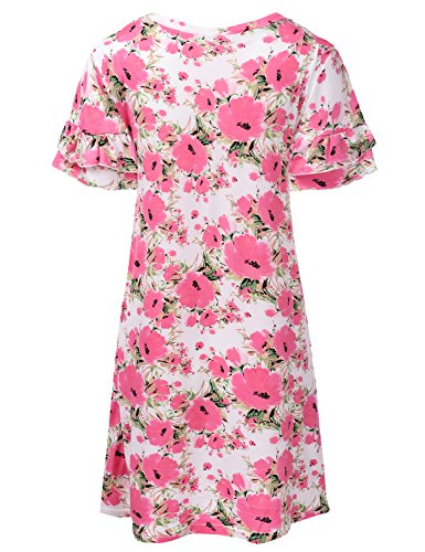 Doublju floralcoral Loose Womens Cwdsd0492 Plus Tunic Fit Size with Ruffle Dress Sleeve frfFnwqxP