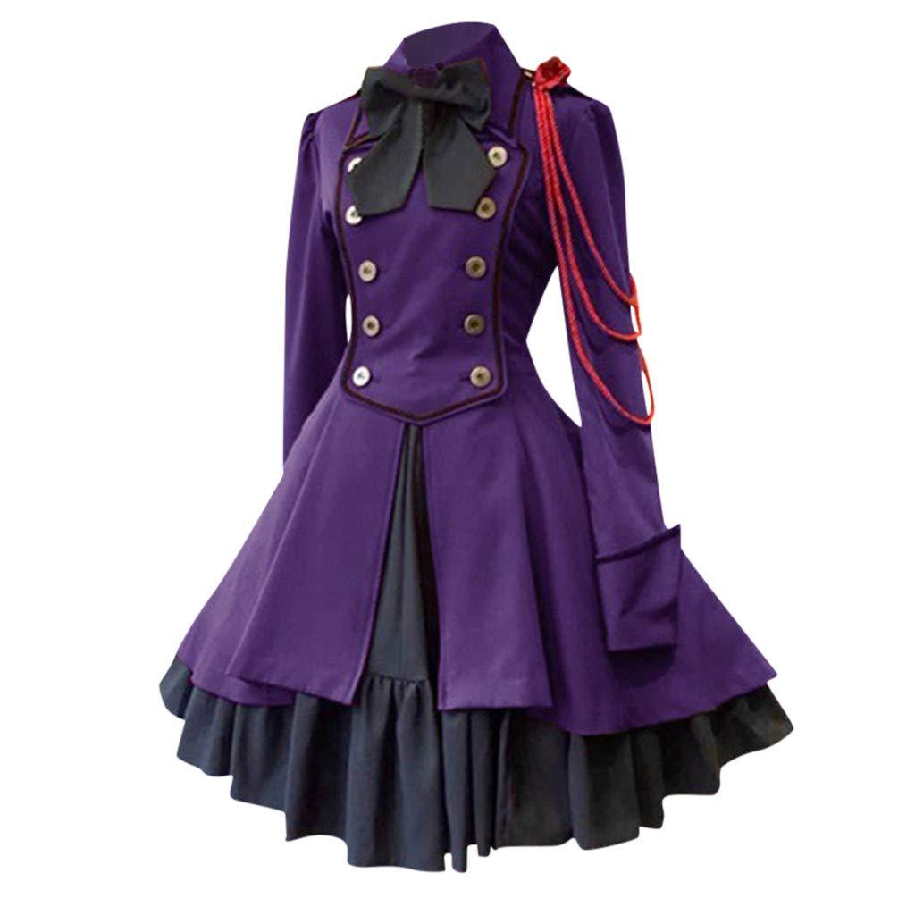 CrazyfashionWomen Vintage Gothic Court Square Collar Bow Princess Dress Ruffle Purple by crazy fashion
