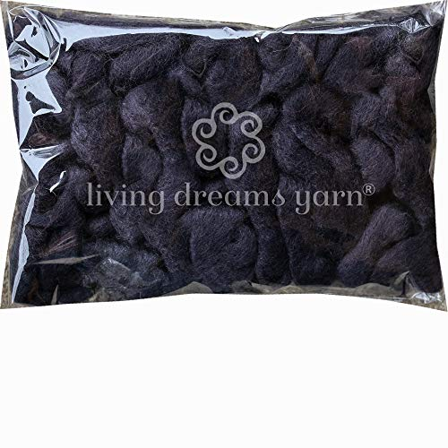 Wool Roving Hand Dyed. Super Soft BFL Combed Top Pre-Drafted for Easy Hand Spinning. Artisanal Craft Fiber ideal for Felting, Weaving, Wall Hangings and Embellishments. 1 Ounce. Almost Black