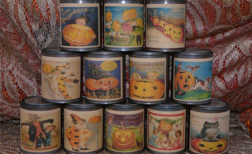 Two Halloween Scented Tin Candles Mulberry & Pumpkin Spice -
