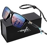 Mens Sunglasses Polarized for Fishing Driving Running Golf Sport Glasses, 100% UV Protection Cat.3 (shiny black/blue, blue)