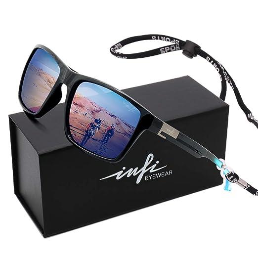 66693b24cc92 Wayfarer Sunglasses for Men, Polarized Driving Sunglasses Women Sport,  Quality Gradient Black Frame Running