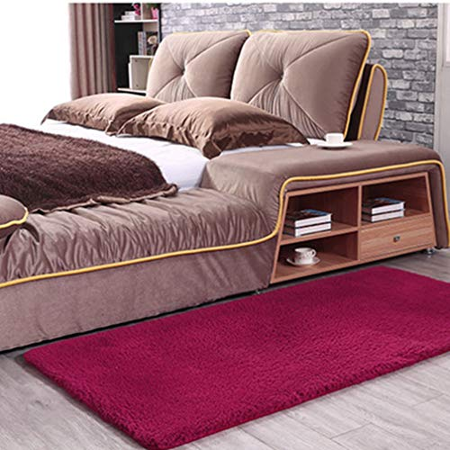 MOXIC Solid Rectangular Area Rugs Soft Shag Living Room Children Bedroom Rug Anti-Slip Plush Carpets Home Decor Modern Indoor Outdoor Runners Nursery Wine Red 1.6' X ()