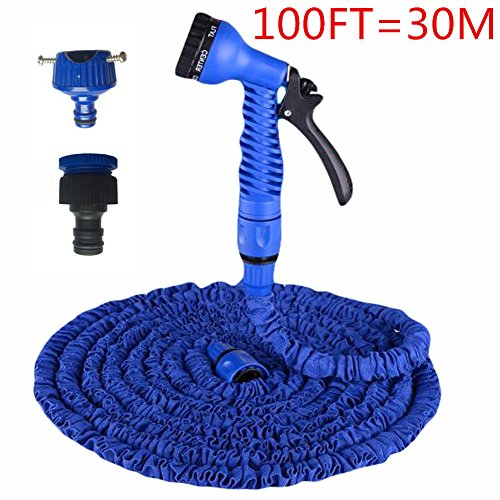 TechCode 100FT Expandable Magic Flexible Garden Hose Kits Water Spray Lawn Sprinkler Car Wash Adjustable Hose Nozzles 7 Pattern High Pressure Power Washer for Watering Plants,Showering Pets(Blue)