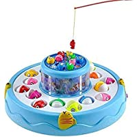 Toy Arena Magnetic Rod Fishing Game with Rotating Fishing Pond -Light & Music Function (Multicolor)