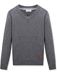 Boys V-Neck Pullover Cotton Knit Sweater