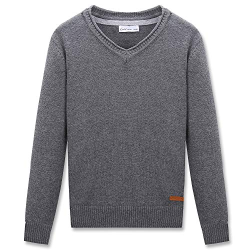 (CUNYI Little Boys V-Neck Pullover Cotton Knit Sweater, Dark Grey, 130 )