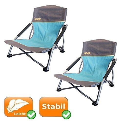 2er Set Strandstühle je 120 Kg Tragkraft, ideal für Camping, Outdooraktivitäten, als Angelstuhl, für Festivals, am Strand oder im Garten, Klappstuhl mit kleinem Packmaß, inklusive Tragetasche, blau