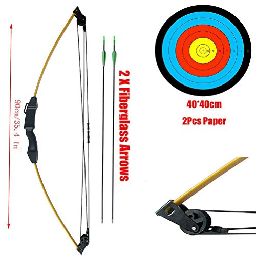 PG1ARCHERY Archery Bow and Arrow Set Takedown Compound Bow Gift Game Outdoor Sports Kit with Fiberglass Arrows & Target Sheet for Kids Youth Teens Yellow