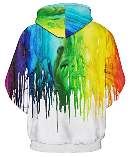 Pretty321 Women Girl Color Painting Unisex Hoodie Sweatshirt w/ Pocket Collection Colorful Paintings White