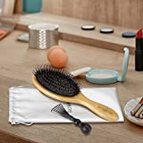 Hair Brush, Natural Boar Bristle Hair Brush, Wooden Bamboo Hair Brush for Women Mens, Paddle Brush Curly Hair Brush for Thick Hair & Anti Static Detangling Best Paddle Brush for Reducing Hair Breakage