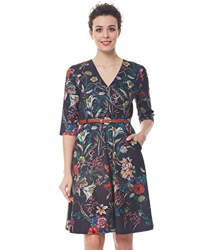 Garden Drop Waist Dress (ZAFUL Women's Casual V Neck 3/4 Sleeve Floral Midi Dress with Braided Belt(Black,XL))