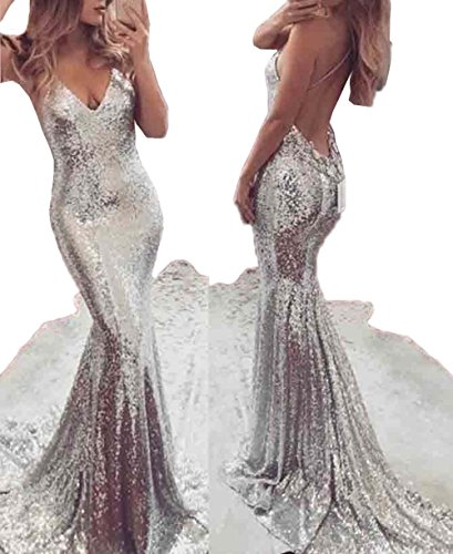 USGreatgorgeous Women Silver Sequined Long Mermaid Spaghetti Straps V Neck Backless Prom Cocktail Gown Evening Dress (M)