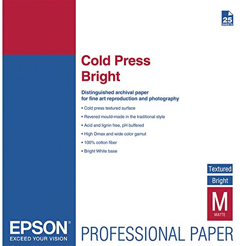 "Epson Cold Press Bright Matte Inkjet Photo Paper 13"" x 19"" 25 Sheets S042310"