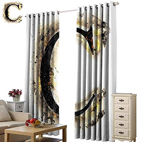 (Beihai1Sun Curtains for Living Room Letter C Letter C Flaming Backdrop Combusted Alphabet Symbol Paper Effect Writing Tan Black Yellow Modern City Curtains with Luxury W72 x H108)