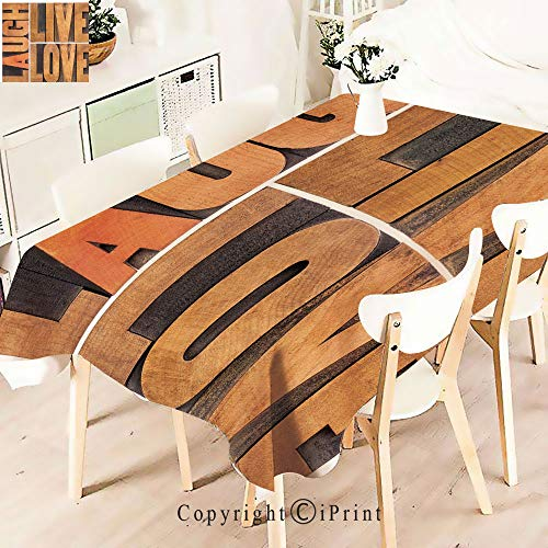 Elegant Tablecloth Waterproof Spillproof Polyester Fabric,Decor Macro Calligraphy Life Message Inspirational Table Cover for Kitchen Dinning Tabletop Decoration,W55 xL83,Light Caramel Umber