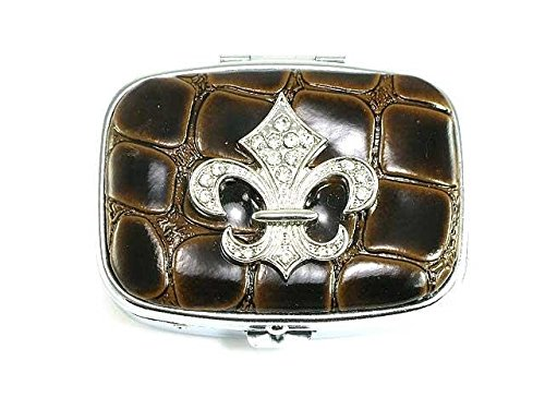 Box Austrian Crystal (Brown Leather Sparkling Austrian Crystal Look Fleur-De-Lis Pill Box)