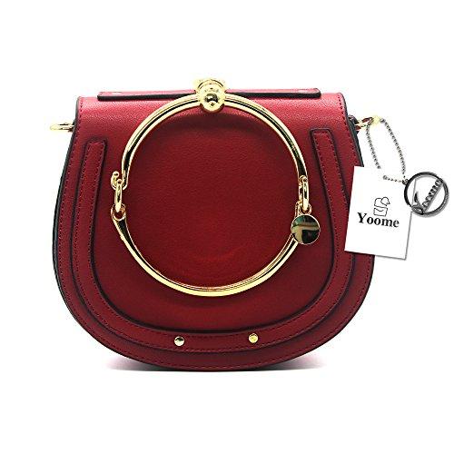 Normia Rita Cowhide Leather Top Handle Handbags Ring Purse Vintage Crossbody Shoulder - Handbag Style Ring