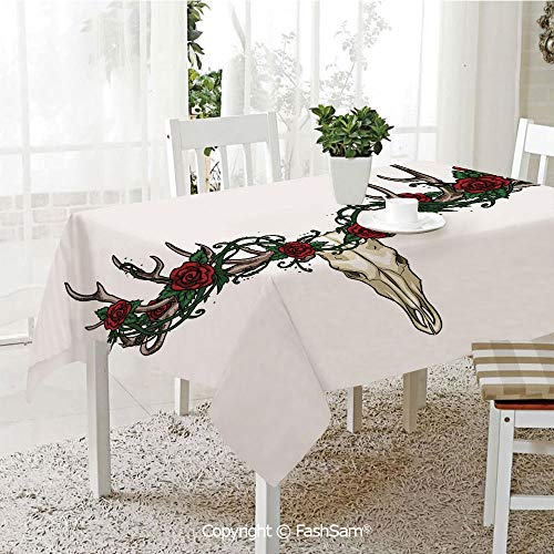 AmaUncle 3D Dinner Print Tablecloths Skull with Romantic Roses Vintage Spiritual Design Gothic Style Skeleton Decorative Resistant Table Toppers (W60 xL84)]()