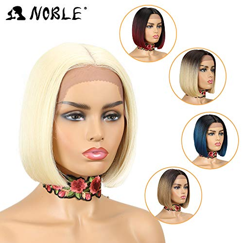 NOBLE Blonde Lace Front Wigs Glueless Synthetic Lace BOB Wigs Replacement Lace Wigs for White Women(10inches, 613)]()
