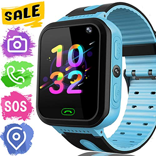 Kids Smart Watch Phone - Kids GPS Tracker Smartwatch for Girls Boys with Mobile Phone SOS Anti-Lost Camera Game Touch Screen Children Outdoor Digital Wrist Watch Bracelet Holiday Birthday Gift
