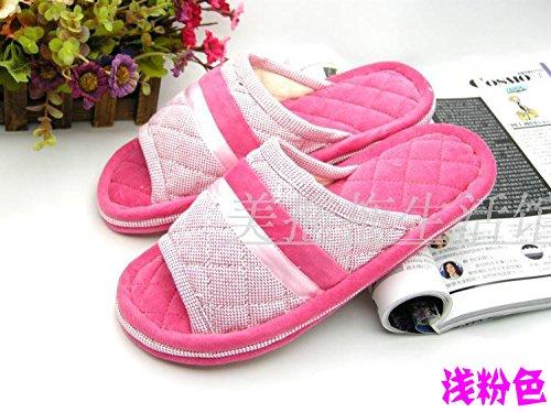 Coppie fankou home scarpe moquette del pavimento cotone pantofole ,39-40, bianco verde
