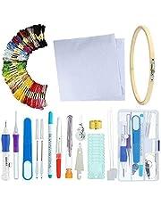 DIYARTS Kit di Ricamo Kit di Attrezzi A Punto Croce Professionale con Filati 100 Colori Kit di Cucito Fai da Te Kit di Avviamento A Maglia Fatto A Mano Cerchi per Ricamo