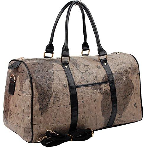 Boston Bag Black - Copi World Map Large Duffle Bag Travel Tote Luggage Boston Style Chocolate-Black