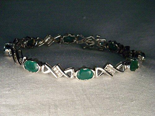 Estate Gold Bracelet (Wonderful Estate 14K White Gold Emerald Diamond Tennis Bracelet)