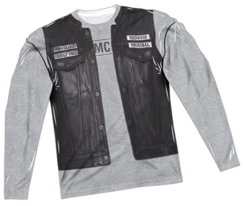 Sons Of Anarchy Halloween Costume (Unholy Costume -- Sons Of Anarchy All-Over Long-Sleeve T-Shirt, Large)