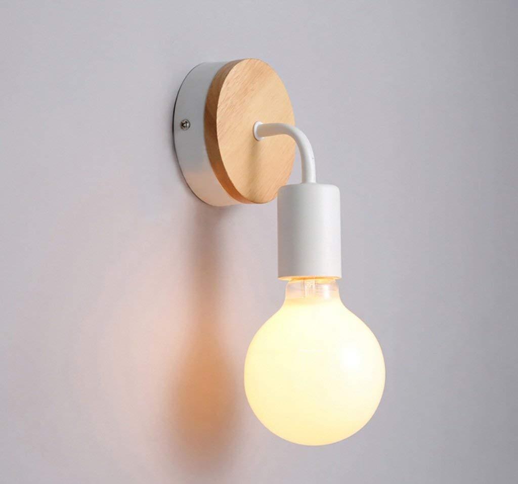 Eeayyygch Wandleuchte Wandleuchte aus Holz Wandleuchte aus Holz einfache schmiedeeiserne Spiegelfrontlampe Flurlampe Schlafzimmerbett Nordischen Stil (Effizienz  A +) (Farbe   Weiß, Größe   -)